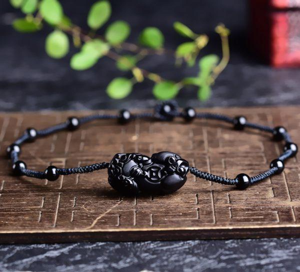 黑曜石貔貅吊墜鎖骨鏈